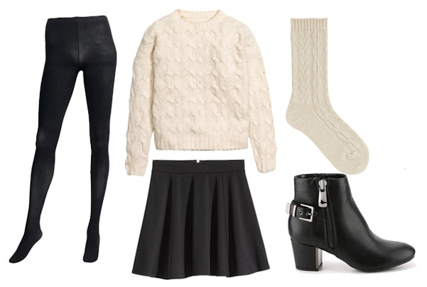 Winter to spring transition sweater with skirt outfit