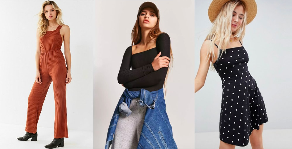 Square neckline top trend (left to right): burnt orange jumpsuit with thick straps and wide legs from Urban Outfitters, long sleeve black ribbed top from Forever 21, and black and white polka dot spaghetti strap dress from ASOS.