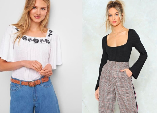 Square neckline trend (from left to right): white peasant flowy top with floral embroidery from GAP and long-sleeve black bodysuit with bell sleeves from Nasty Gal.