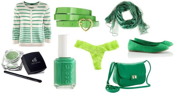 St. Patrick's Day accessories and extras: Green top, belt, scarf, panties, shoes, bag, nail polish and more