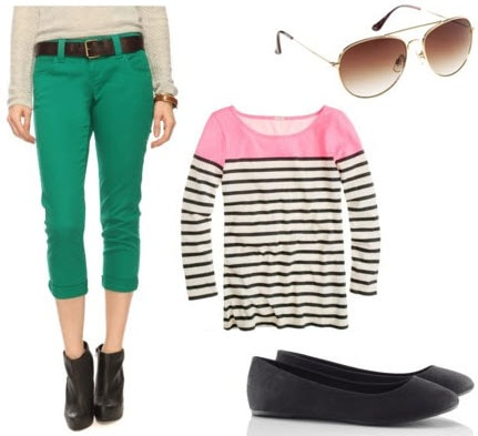 St. Patrick's Day Outfit 1: Green pants, striped shirt, flats, sunglasses