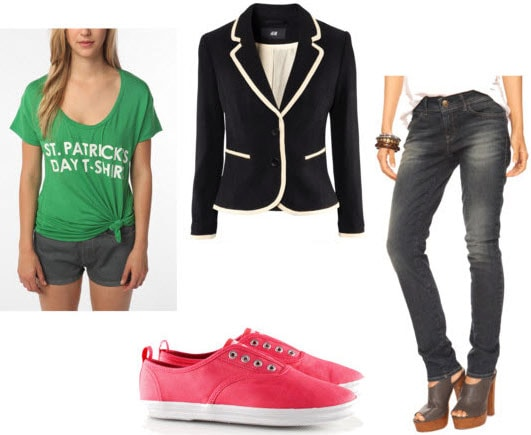St. Patrick's Day Outfit 2: St. Patrick's tee, blazer, red canvas sneakers, basic jeans