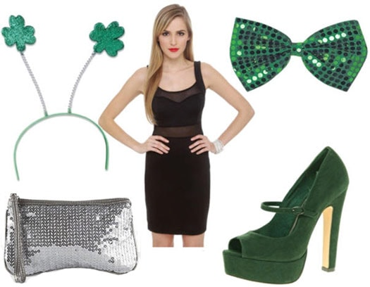 St. Patrick's Day Outfit 3: Party dress, green suede pumps, sequin clutch, St. Paddy's accessories