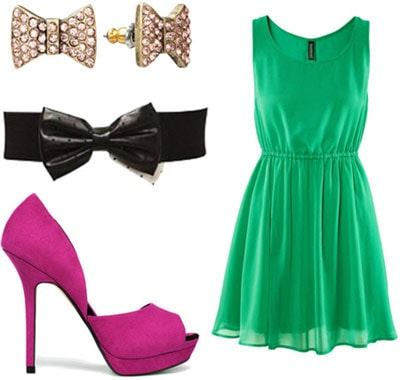 St. Patrick's Day Outfit 4: Green dress, magenta pumps, belt, earrings