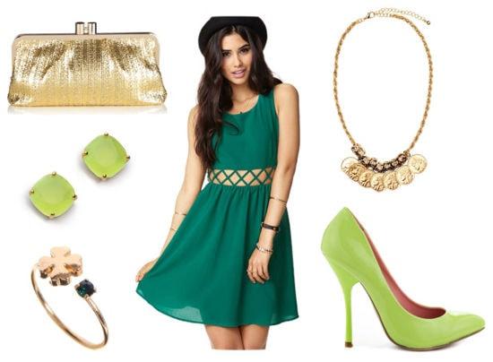 St Patrick's green cutout dress