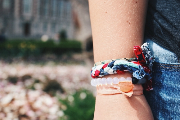 college student with stacked bracelets