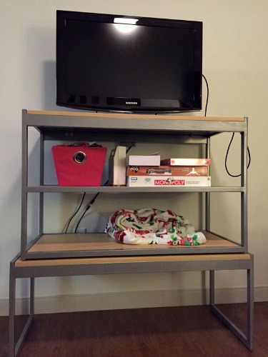 Stacked furniture in dorm