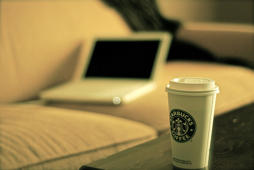 Starbucks coffee and a laptop