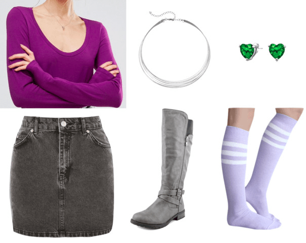 purple scoop neck long sleeve silver collar emerald heart earrings gray denim skirt gray knee-high boots purple knee-high socks teen titans casual cosplay teen titans starfire outfit