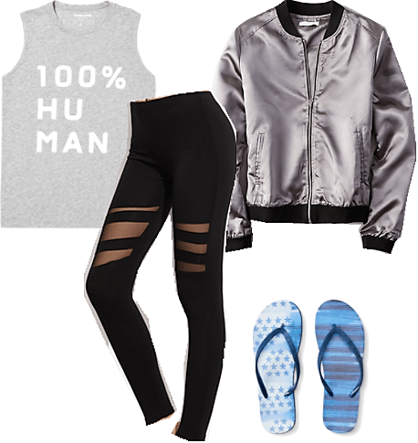 100% human tank top silver bomber jacket black mesh leggings star print flip flops