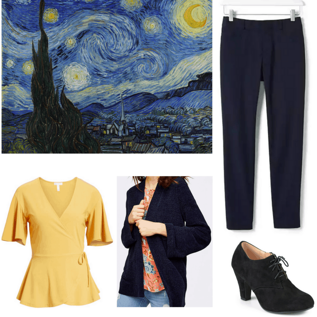 outfits inspired by impressionism outfits inspired by vincent van gogh starry night tailored black ankle pants pale yellow blouse fluffy navy cardigan black oxford heels with ribbon bow