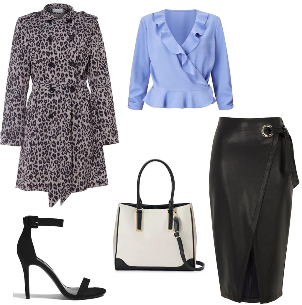 Business casual outfit with statement coat: Leopard print trench coat, blue ruffle top, black faux leather wrap skirt, black and white tote bag, strappy heels