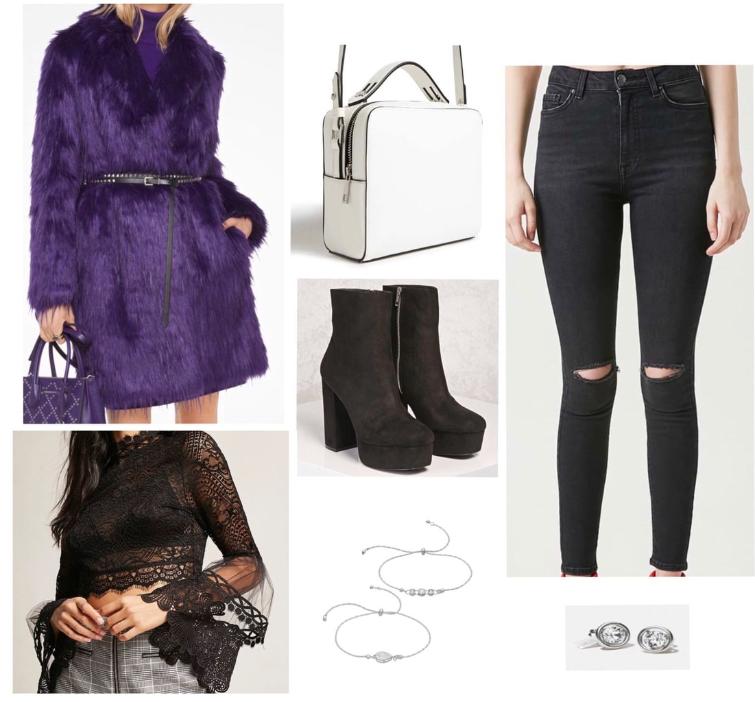 Statement coat outfit for a night out: Purple faux fur coat, ripped black skinny jeans, lace crop top, platform ankle boots, white purse, bracelets, stud earrings