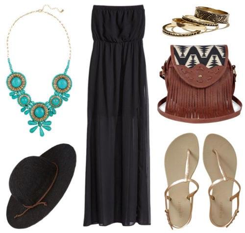 Statement necklace black maxi dress