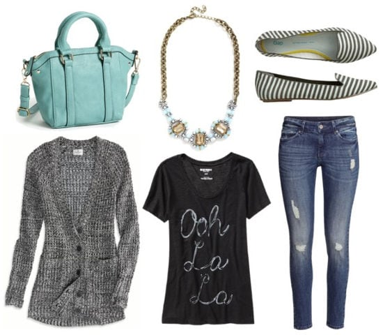 Statement necklace graphic tee distressed jeans