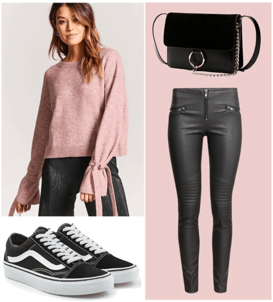 Polyvore set for tie-wrist sleeves with accessories including: black low top vans, leather leggings, and a black crossbody bag.