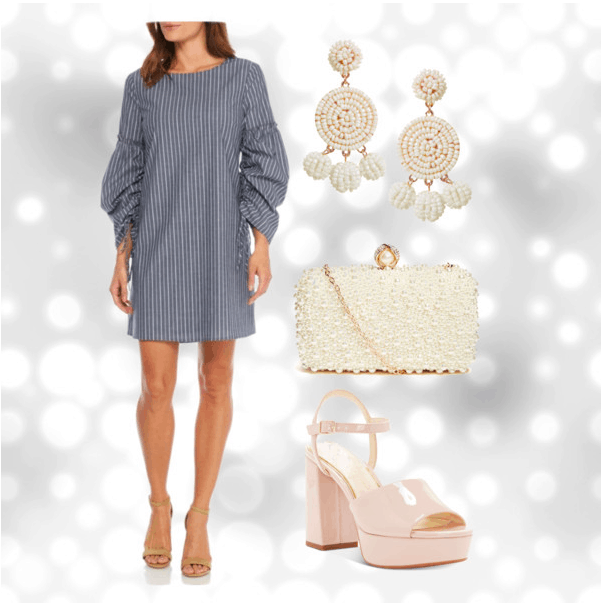 Polyvore set for ruches sleeves with accessories including: round disc earrings, a pearl clutch, and nude platform sandals.
