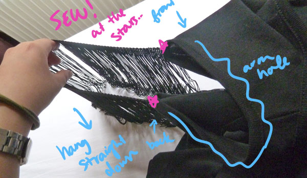 Step 3.1 diy lbd fringe sleeve
