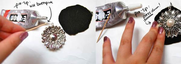 Gluing down pendant: Gatsby-Brooch DIY