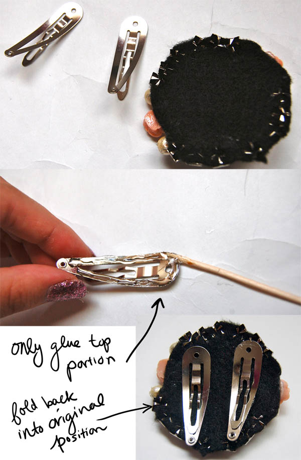 Gluing on hair clips: Gatsby-Brooch DIY