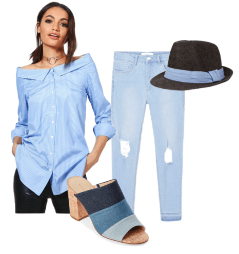 Outfit inspired by Stephen Bekowsky from LA Noire video game: ripped light blue denim, pinstripe off the shoulder top, denim block heel, straw fedora