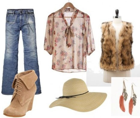 Steven Tyler Outfit 1: Distressed jeans, sheer blouse, fur vest, ankle booties, hat, feather earrings