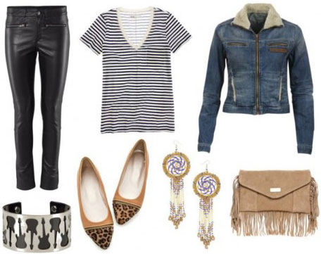 Steven Tyler Outfit 2: Striped tee, leather pants, jean jacket, fringe bag, earrings flats, bracelet