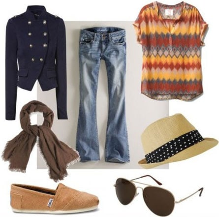 Steven Tyler Outfit 3: Flare jeans, printed tee, military jacket, scarf, TOMs, aviators, fedora