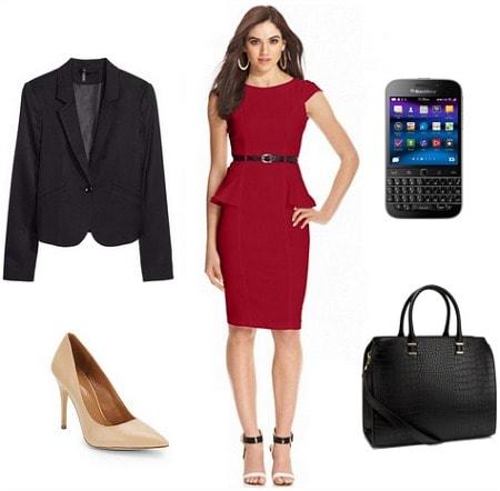 Still Alice Red Peplum Dress, Blazer, Pumps