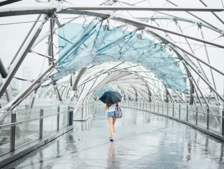 What to wear on a rainy day in summer: Girl wears shorts, black umbrella, printed backpack, white tank