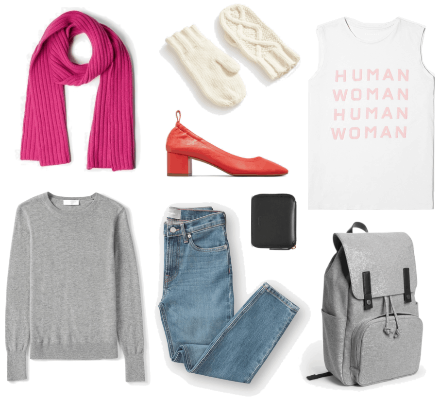 Bright pink ribbed scarf, light gray crewneck sweater, cream-colored cable-knit mittens, red block-heel elasticized leather pump with pull-tab at back, boyfriend jeans in light wash, black zip-around wallet, white muscle tank with