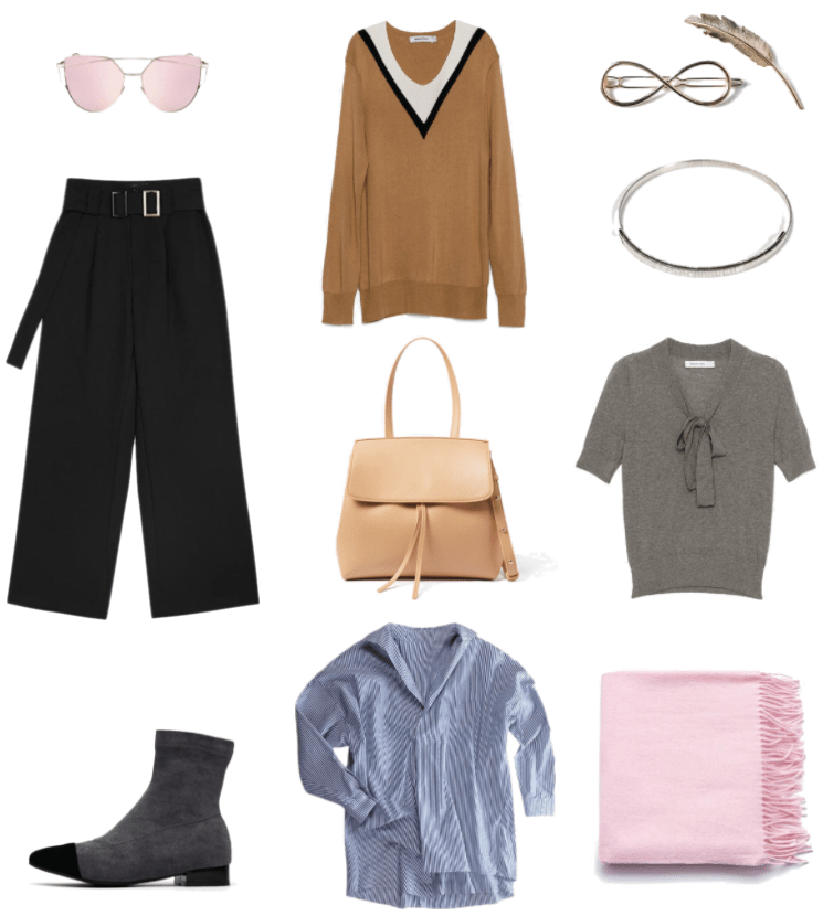 Rose gold metal frame cat-eye sunglasses with pale pink lenses, black cropped pleated wide-leg pants with belt with two silver buckles, dark gray ankle boots with low black heel and black cap toe, camel-colored v-neck sweater with black v and white at collar, beige cross-body bag with top-handle, blue-and-white striped asymmetrical oversized button-up shirt, gold infinity-shaped hair clip, gold metal feather hair clip, silver metal choker necklace, gray short-sleeved v-neck sweater with bow-neck, pale pink large wool scarf with tassels