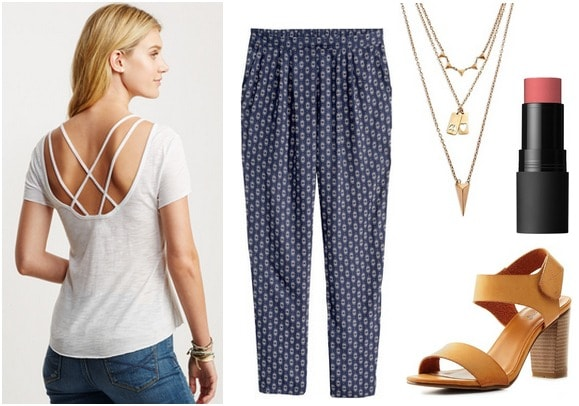 strappy back top, printed pants, strappy sandals