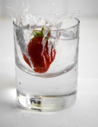 Strawberry inside a glass of water