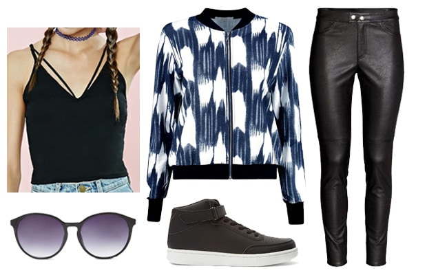 Edgy street fashion bomber jacket with high tops