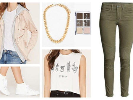 Chic street style graphic tee light outfit