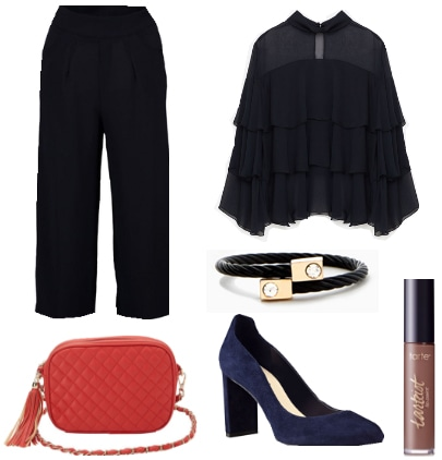 Outfit inspired by Akuma from Street Fighter - Black pants, black top, black bracelet, red clutch, heels, nude lip paint