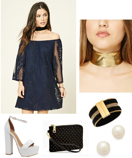Outfit inspired by Chun Li from Street Fighter - Blue lace dress, gold choker, gold bracelet, studded clutch, pearl earrings