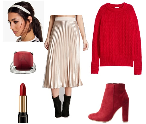Outfit inspired by Ryu from Street Fighter - metallic skirt, red ring and boots, headband, red sweater
