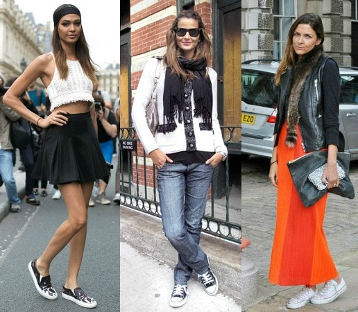 Street style looks with sneakers