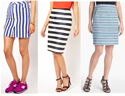 Stripe pencil skirts