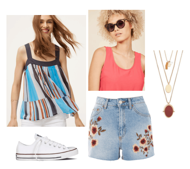 How to Wear Multicolored Stripes: Outfit with blue, orange and white striped top, brown sunglasses, embroidered denim shorts, layered necklaces, white Converse sneakers