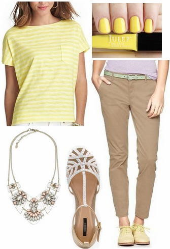 Striped citron tee, tan trousers, statement necklace