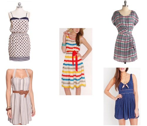 Striped, dotted and plaid summer dresses under