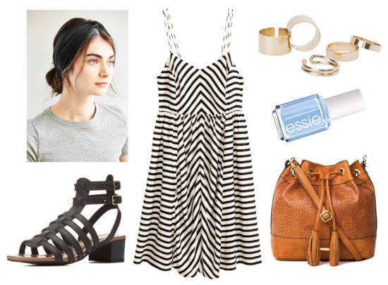 striped dress, black sandals, bucket bag