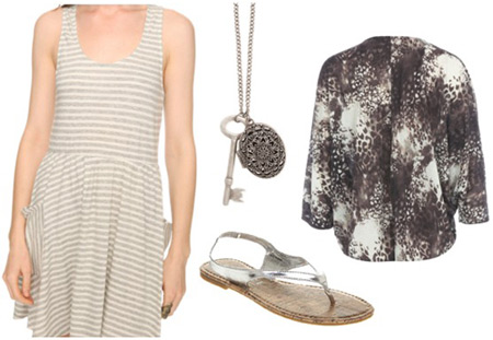 How to wear a striped dress with an animal print cardigan and metallic sandals