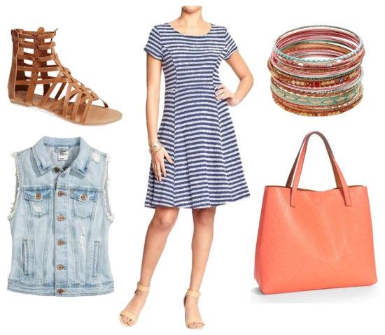 striped dress and denim vest