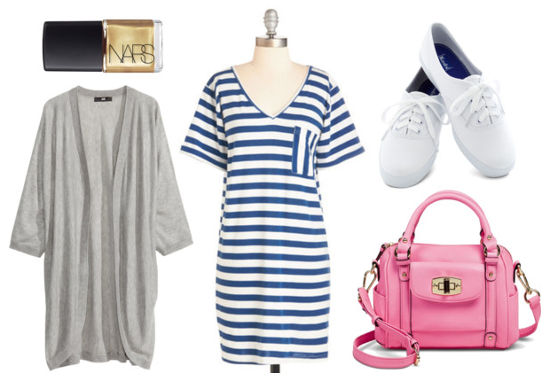 Striped dress gray cardigan white sneakers