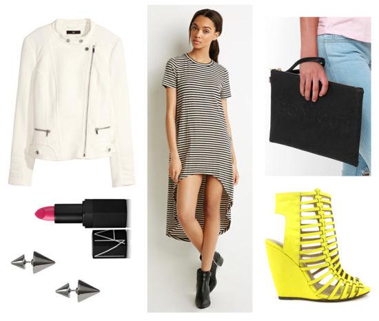 striped dress, moto jacket, neon wedges