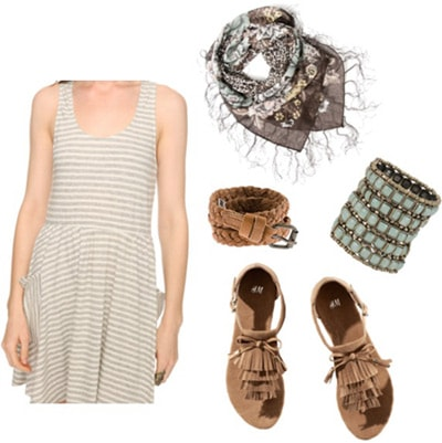 How to wear a striped dress with simple sandals and a scarf